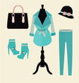 Autumn clothes shopping elements vector image