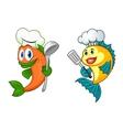 Cartoon chef fish characters vector image