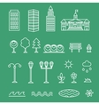 linear landscape icons line style - trees vector image