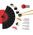 Sushi Poster With Folding Fan vector image