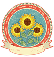 Sunflowers symbol on old paper textureVintage vector image
