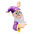 friendly wizard pointing vector image vector image