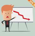 Cartoon business man present information - - vector image