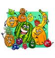 cute fruit characters group cartoon vector image