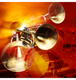 abstract red musical background with drums and vector image