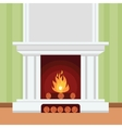 Fireplace in flat design style vector image