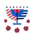 hanukkah menorah and pomegranates icons vector image