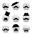 Hipster white smilies with mustache vector image
