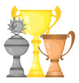 set of trophy champion cups vector image