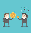 two businessmen with money vector image