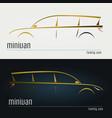 set of modern minivan silhouettes vector image