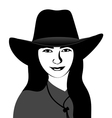 Girl in a cowboy hat vector image vector image