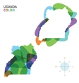 Abstract color map of Uganda vector image vector image