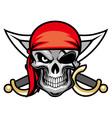 skull pirate head vector image vector image