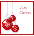 Shiny red christmas decoration baubles hanging vector image