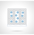 Window with snowflakes flat color line icon vector image