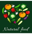 Heart vegetables flat icons Natural food emblem vector image vector image