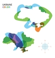 Abstract color map of Ukraine vector image