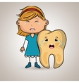 crying cartoon girl with colored clothes and vector image