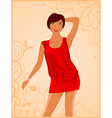 cute fashion girl on floral background - vector image