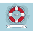 Life Bouy In Summer With Ribbon Flat Design vector image