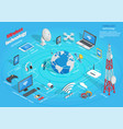 wireless technology infographic scheme on blue vector image