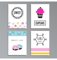 Set of greeting or journaling cards with cupcakes vector image