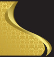 gold and black card with wavy ribbons vector image vector image