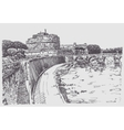 drawing cityscape with fortress of SantAngelo in vector image