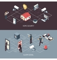 Home Security System 2 Isometric Banners vector image