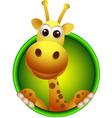 cute giraffe head cartoon vector image