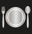 silver plate fork and spoon vector image