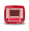 Old red radio on white background vector image vector image