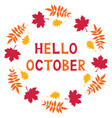 hello october card vector image vector image