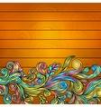 Floral doodle on wood background vector image