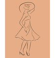 beautiful girl in dress sketch - vector image