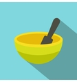 Yellow mortar and pestle flat icon vector image
