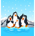 Four penguins standing on iceberg vector image vector image