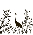heron in thicket of bamboo branches with leaves vector image