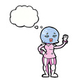 Cartoon female astronaut with thought bubble vector image