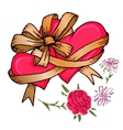 Two hearts tied with a ribbon bow and flowers vector image