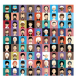 Set of people icons in flat style with faces 02 b vector image