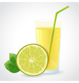 A glass of fresh lime juice and half of green lime vector image