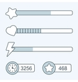 Thin line game time progress bar icons vector image