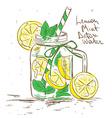 Sketch of Lemon Mint Detox water vector image