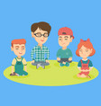 kindergarten teacher and children meditating vector image