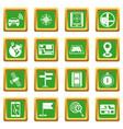 navigation icons set green vector image