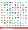 100 system icons set cartoon style vector image