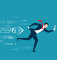 Business man running with media device vector image