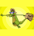 cartoon character running cheerful crocodile vector image